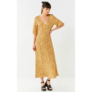 Urban Outfitters Floral Flutter Sleeve Maxi Dress